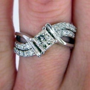 New 925 Silver Twist Wedding Diamond Ring
